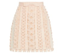 Super Eight Flutter Appliquéd Crochet And Linen Mini Skirt