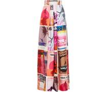 Hose mit Weitem Bein aus Bedrucktem Seiden-twill mit Falten