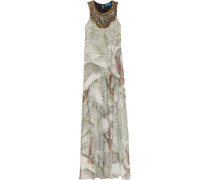 Embellished Printed Washed-silk Maxi Dress Wollweiß