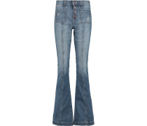 The Judy Faded Low-rise Flared Jeans Mittelblauer Denim