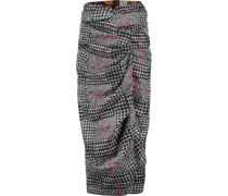 Twist-front Checked Felt Skirt Grau