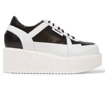 Perforated Leather Platform Sneakers Schwarz