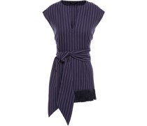 Dot Fringe-trimmed Pinstriped Organic Cotton-twill Top