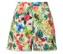 Joone Bedruckte Shorts aus Baumwoll-voile mit Häkelbesatz