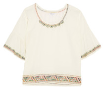 Embellished Cotton Top Wollweiß