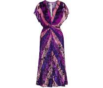 Woman Twist-front Metallic Fil Coupé Striped Chiffon Dress Violet