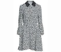 Gerafftes Kleid aus Crêpe De Chine mit Leopardenprint und Spitzenbesatz