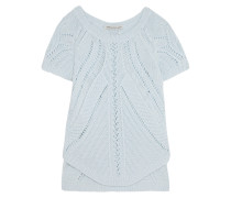 Open-knit Cotton Top Himmelblau
