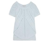 Open-knit Cotton Top Himmelblau