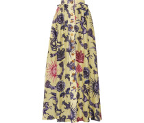 Pleated Printed Silk-chiffon And Linen Maxi Skirt Pastellgelb