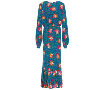 Pleated Printed Crepe Maxi Dress