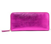 Metallic Leather Wallet Magenta
