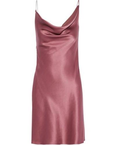 Chain-trimmed Draped Silk-satin Mini Slip Dress Antique Rose