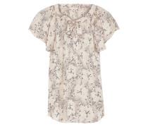Woman Bow-detailed Floral-print Silk-satin Jacquard Blouse Pastel Pink