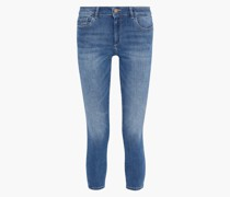 Woman Florence Cropped Faded Low-rise Skinny Jeans Mid Denim