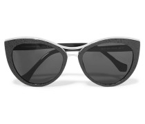 Round-frame Acetate And Matte-acetate Sunglasses Schwarz