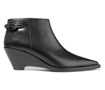 Carrie Leather Wedge Ankle Boots Schwarz