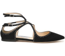Studded Suede Point-toe Flats Black