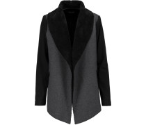 Paneled Faux Shearling And Coton-jersey Jacket Schiefer