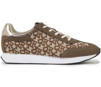 Leather-trimmed Suede And Logo-jacquard Sneakers