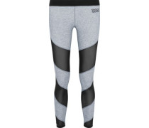 Waterfall mesh-paneled stretch-jersey leggings