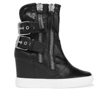 Polished-leather Wedge Sneakers Schwarz