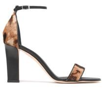 Leopard-print Calf Hair Sandals
