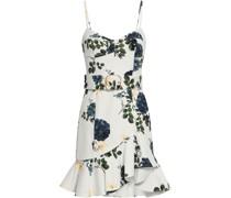 Minikleid aus Twill aus Stretch-baumwolle mit Floralem Print und Gürtel