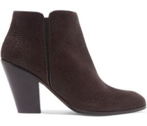 Lizard-effect leather ankle boots