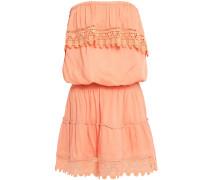 Joy Strapless Crochet-trimmed Voile Mini Dress