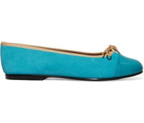 Patent leather-paneled suede ballet flats