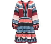 Mika Embroidered Striped Cotton-poplin Mini Dress