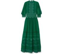 Robe aus Chiffon aus Einer Seidenmischung mit Stickereien und Samtbesatz