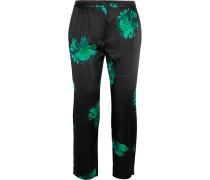 Floral-print Silk Straight-leg Pants Grün