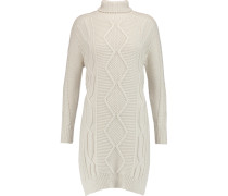 Cable-knit Wool Turtleneck Tunic Elfenbein
