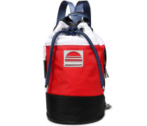 Woman Color-block Twill Backpack Tomato Red
