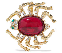 22-karat -plated, Stone And Crystal Brooch