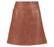 Majorelle Croc-effect Leather Skirt Braun