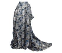 Draped Pleated Brocade Maxi Skirt