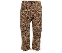 Cropped Jeans mit Geradem Bein in Distressed-optik mit Leopardenprint