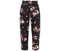 Cropped Floral-print Silk-blend Crepe De Chine Tapered Pants
