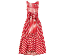 Samantha Tie Striped Silk-blend Satin Midi Dress