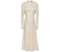 Gathered Metallic Silk-blend Leopard-jacquard Midi Dress
