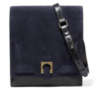 Suede And Leather Shoulder Bag Mitternachtsblau
