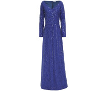 Sequin-embellished Crepe Gown