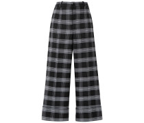 Cropped Checked Wool-blend Straight-leg Pants