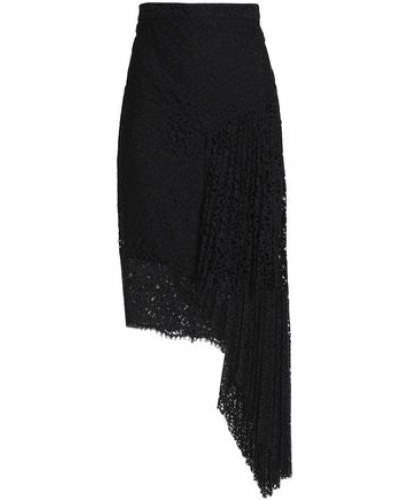Asymmetric Pleated Corded Lace Skirt Black