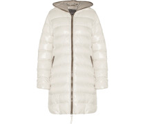 Ace Quilted Shell Hooded Down Coat Creme
