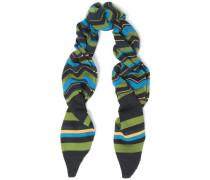 Crochet-knit wool-blend scarf