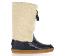 Lenore shearling and patent-leather boots